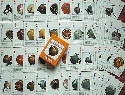 1251 OLD VINTAGE WOOD & BRASS  FISHING REEL  on playing cards ideal gift hardy