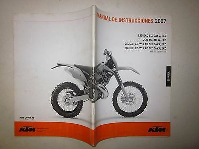 KTM my 2007 125-200-250-300 EXC-EXC SIX DAYS-XC-XC/W Manual de instrucciones