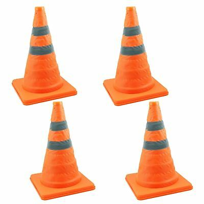 4 x COLLAPSIBLE PULL OUT POP UP SAFETY CONES EMERGENCY ACCIDENT TRAFFIC ROAD