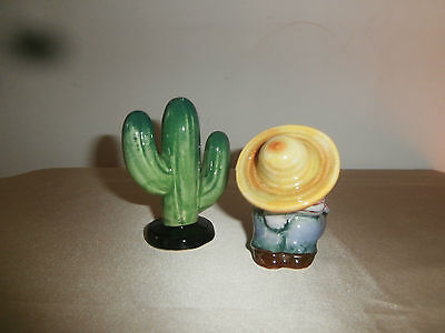 Vintage 50's 60's Mexican Napping & Cactus Salt & Pepper Shakers