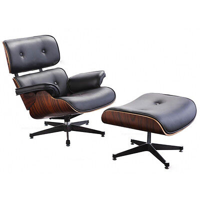 Real Leather Charles Eames Lounge Chair and Stool Rosewood and Black Leather