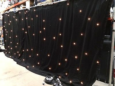 Black StarCloth Backdrop For Stage, Theatre or Club Warm White 4m x 3m (x4)