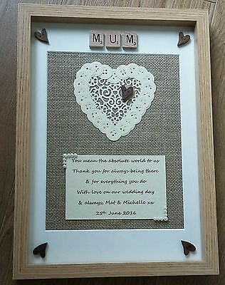 SCRABBLE ART FRAME Rustic Personalised Picture Mum Thank you Keepsake  GIFT