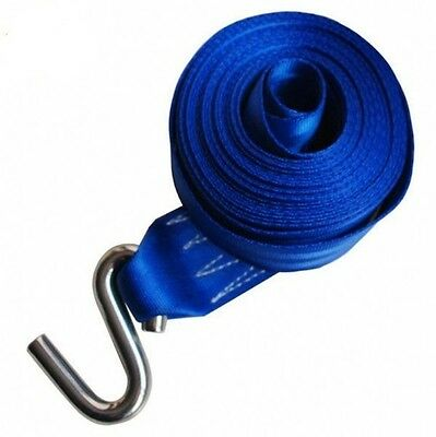 5m X 50mm Webbing Strap With S Hook - Winch Cable Dyneema Rope Trailer Boat