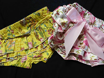 Vintage Babies Girls Retro Bloomers Bathers Swin Suit Knickers Rose Floral 0-1