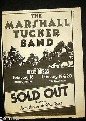 Marshall Tucker Band Dixie Dregs Full Page Poster Size Concert Ad 1977 NYC