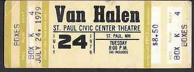 VAN HALEN Unused Concert Ticket St. Paul MN 1979