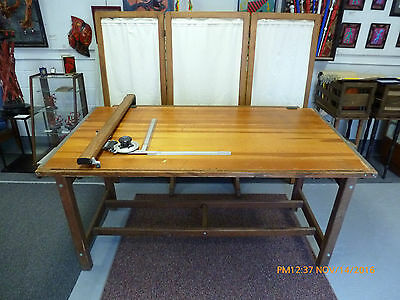 "Vintage K&e Hudson Large Drafting Table And 60"" Vemco Drafting Machine"