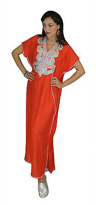 Moroccan Caftan Women kaftan Abaya Beach Cover Summer Long Dress Cotton Red