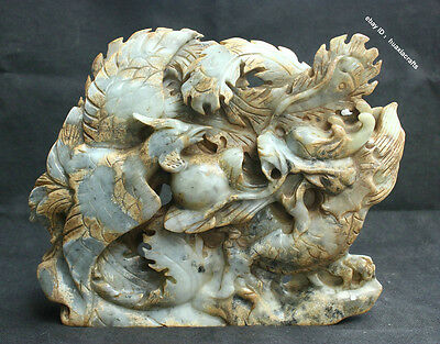 "12"" Chinese 100% Natural Old Jade Carved Dragon Phoenix jadeite Statue Sculpture"