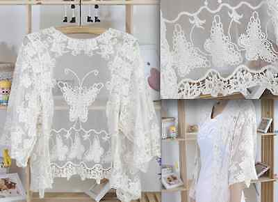 Wedding Bridal Ivory Butterfly Embroidery Lace Jacket Outwear Sweater Shrug