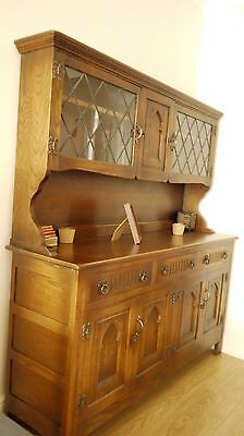 Vintage glass display cabinet solid wood in very good condition