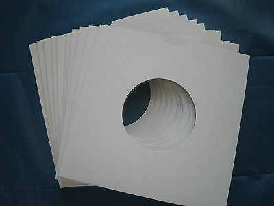 10 White Card 7 Inch Record Sleeves U.k. Made. Free Postage !!!