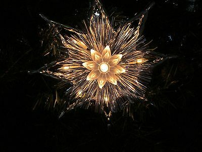 Light Up Clear Silver Tinsel Star Burst Christmas Tree Topper~New