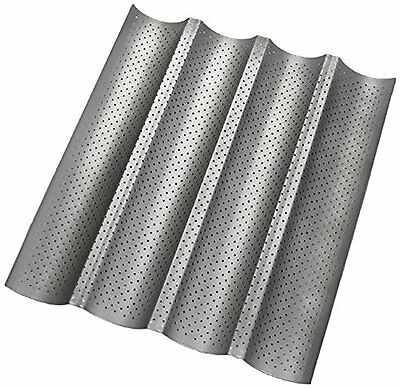 """Non-stick Perforated Baguette Pan French Bread Wave Loaf Bake Mold 15"""" by 13"""""""