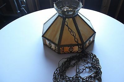 Vintage Brass Style Octag. Chandelier W/slag Double Glass Panel Ceiling Fixture