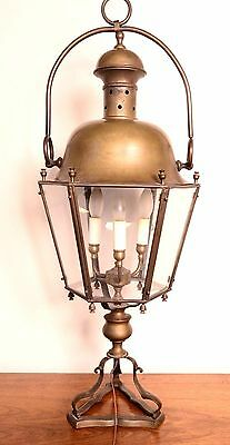 """Large Antique Converted Solid Bronze Lantern Old Street Lamp Rare 33"""" Tall"""