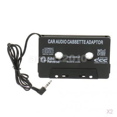 2X Car Audio Cassette Tape Adapter with 3.5MM AUX Cable For SmartPhone Ipod MP3