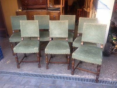 Set Of 7 Vintage Continental Oak Dining Chairs With Sprung Seats  7