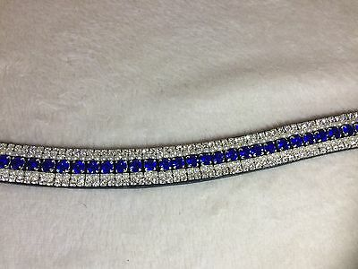 Bling Diamante Dressage Show Browband Topaz Blue/Crystal/Pearl - 5 rows BLACK