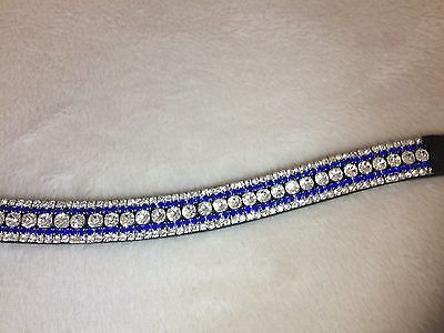 Bling Diamante Dressage Show Browband U shaped Clear/Blue Crystal - 5 rows BLACK
