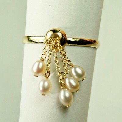 Lightweight 14k solid yellow gold dangling natural Pearl ring 1.8 gram, size 7