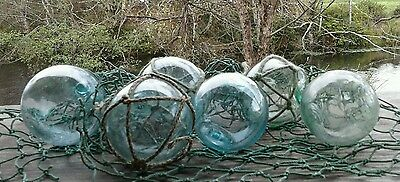 "Japanese Glass Fishing FLOATS 2"" Mixed LOT-6 3-Netted 3-No Net Tiki Tropical Vtg"