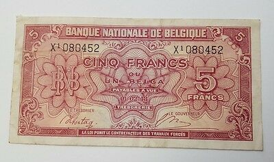 Vintage - Belgium - 5 Francs - Banknote - Dated 1943 - Paper Money Bank Note