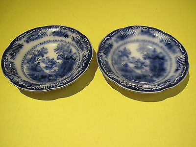 "1890""s W Adams flow blue, stone china, 2-5"" D berry bowls ""Fairy Villa""-England"