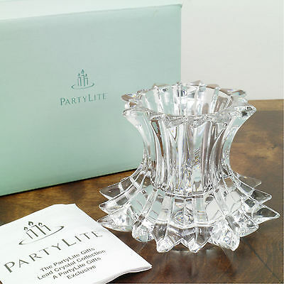 PartyLite P7378 Aurora Pillar Candle Holder Lead Crystal Collection NOS