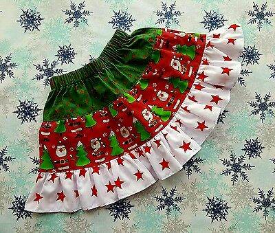 New Girls Cute Christmas Frilly Ruffle Skirt. Age 2-4. Santa Claus. Stars Unique