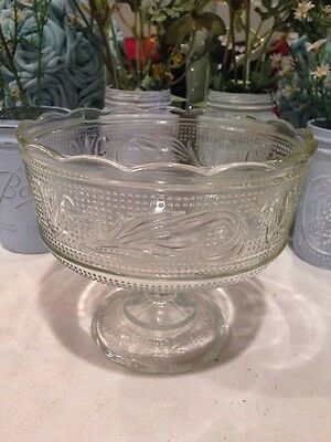 Vintage Glass E. O. Brody Co. Cleveland Clear Pedestal Bowl Dish #M6000