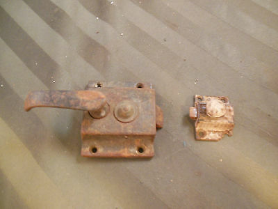 2 Vtg  Old  Metal Cabinet door Latches Hardware