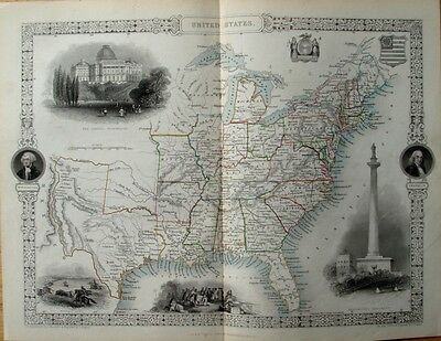 Fine 1851 Antique Tallis Rapkin Map Of United States America With Engraved Views