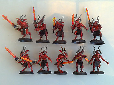 Warhammer Chaos Daemons - Bloodletters of Khorne x10, Painted CD33i