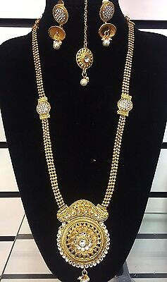 REDUCED TO CLEAR! Gold Plated Indian Jewellery Necklace Earring And Tikka Set