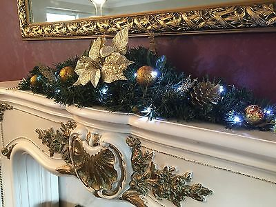Pre-Lit 90cm Arch Fireplace Christmas Garland Gold Swag 20 Warm White Lights New