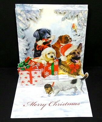 Christmas Dogs Pop Up Greeting Card 3D Holiday Card