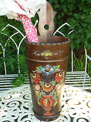 Vintage Old Pine Wooden Hand Painted Umbrella Stick Stand