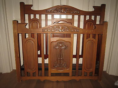 Edwardian vintage VONO mahogany oak double bed frame with carved boards