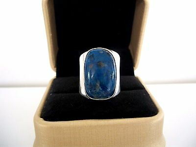 "SOLID STERLING SILVER ""BLUE LAZURITE""  RING ~ QUALITY 12.3 grams ! ~ STAMPED 9"