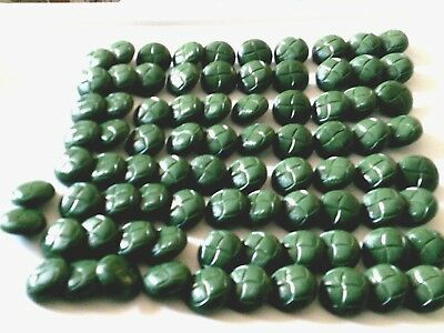 Lot of vintage round buttons 2 pattern 2 forest green shades plastic