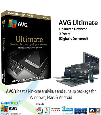 AVG ULTIMATE - 2 Years Unlimited Devices | Anti Virus/Internet Security/Tuneup