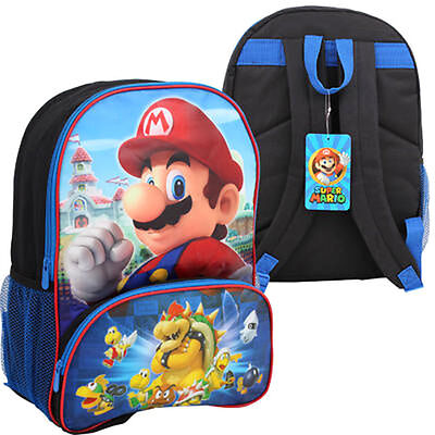 """16"""" SUPER MARIO BROS BACKPACK w Front Compartment Kids Boys School Bag NEW"""
