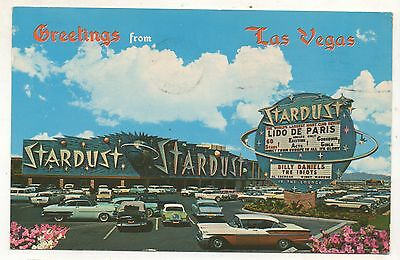 Greetings from the Stardust Hotel, LAS VEGAS NV Vintage Old Cars 1950s Postcard
