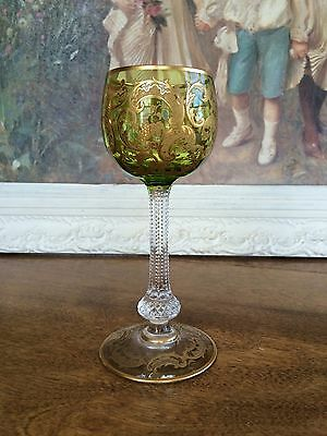 SAINT ST. LOUIS French Crystal Gold Chartreuse Hock Wine Stem