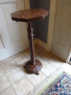 FREE SHIPPING wood ACANTHUS LEAF CLAW FOOT FERN PLANT BUST STAND TABLE REGENCY