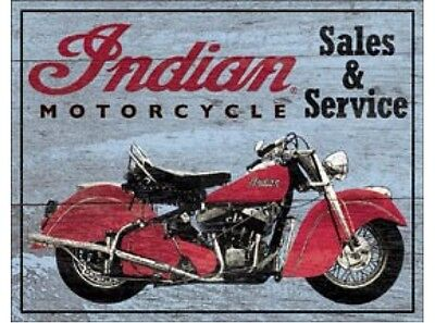 NEW Sales and Service Indian tin metal sign