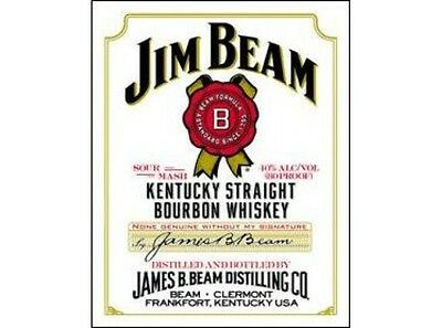 NEW Jim Beam White Label tin metal sign