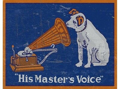 NEW His Masters Voice tin metal sign